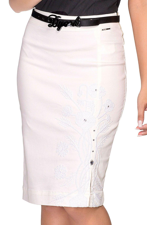 Saia Midi Off White Bordada Com Fenda Frontal Dyork Jeans