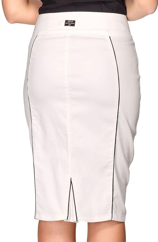 Saia Midi Off White Clássica Dyork Jeans