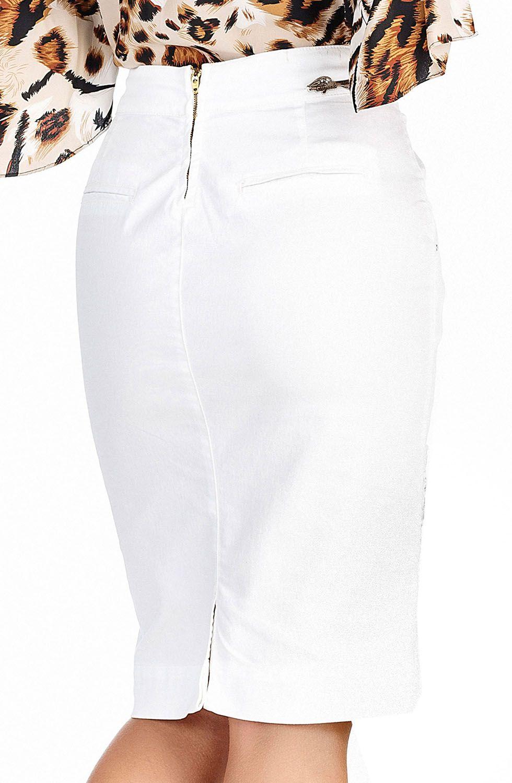 Saia Branca Em Sarja Barrado Em Renda Dyork Jeans