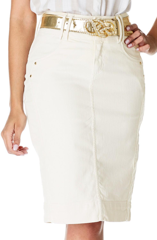 Saia Jeans Cru com Recortes e Tecidos Sobrepostos Dyork Jeans