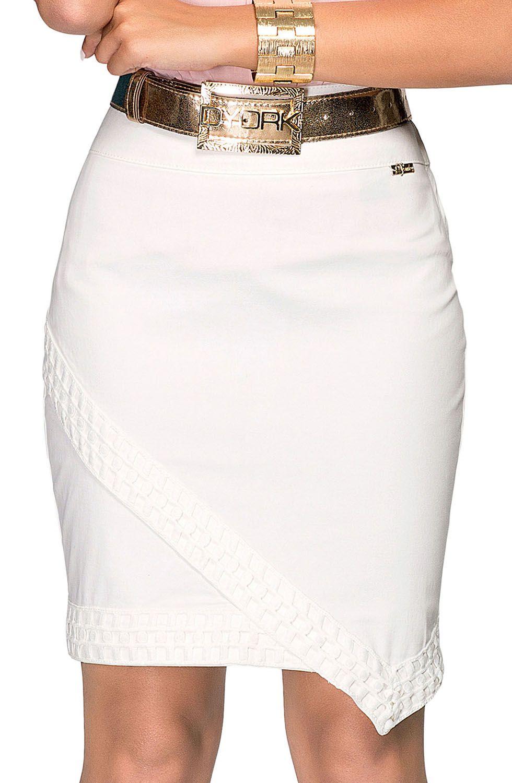 Saia Secretária Off White Com RendaDyork Jeans