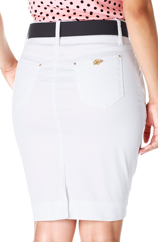 Saia Branca Secretária Bolso Faca Dyork Jeans