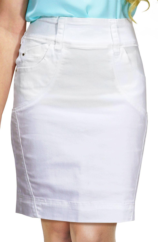 Saia Branca Secretária com Passantes Largos e Recortes na Frente Dyork Jeans