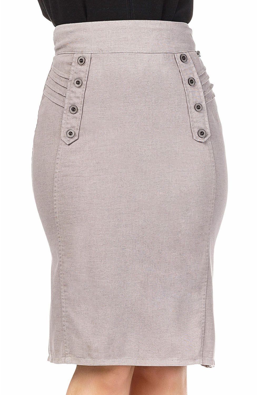 Saia Cinza Detalhe de Lapela e Botões Dyork Jeans