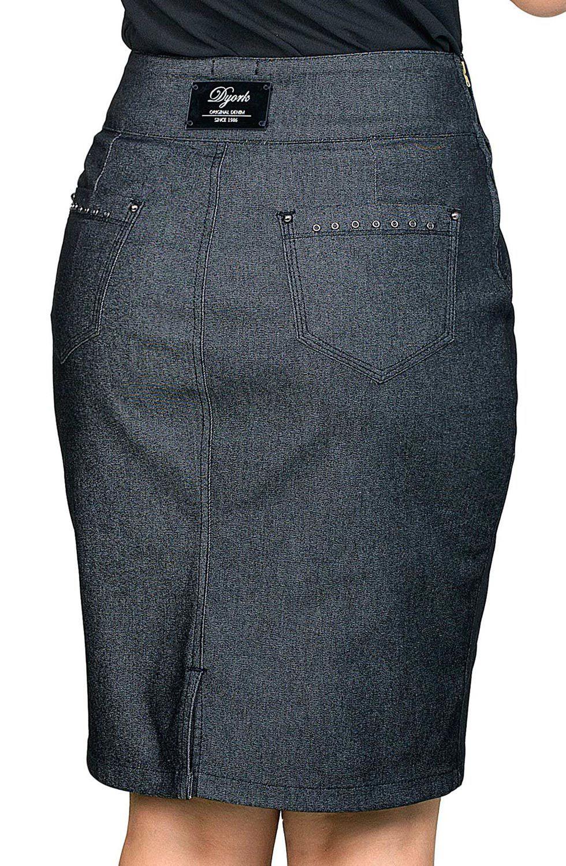 Saia Clássica Jeans Escuro com Pregas Dyork Jeans
