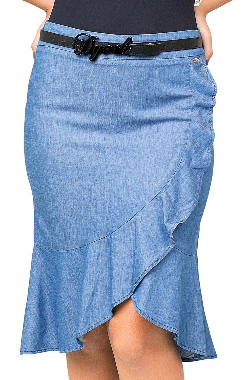 Saia em Jeans Leve com Babados Dyork Jeans