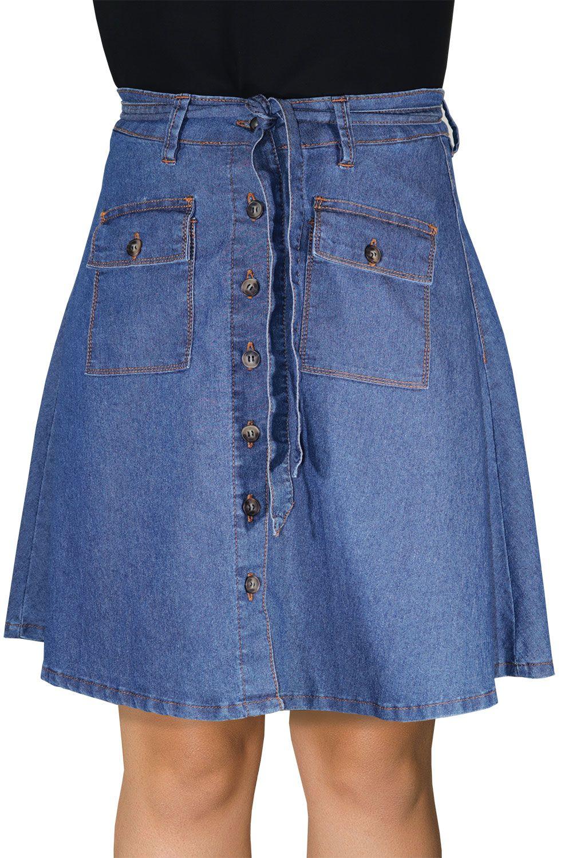 Saia Evasê Jeans Botões Frontais Com Amarração Dyork Jeans