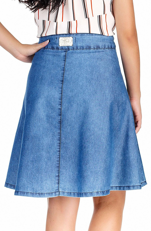Saia Evasê Jeans Zíper Frontal Dyork Jeans