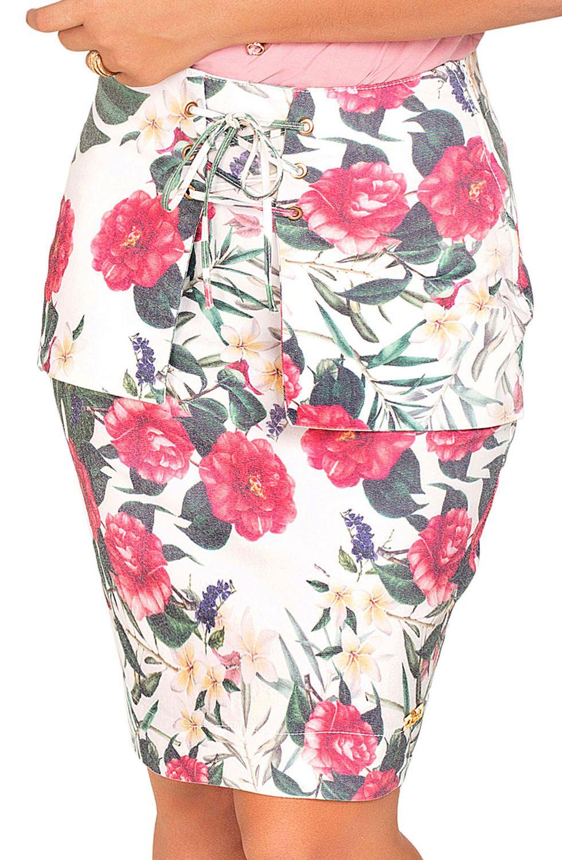 Saia Feminina Bolso Faca Com Amarração Estampa Floral Dyork Jeans