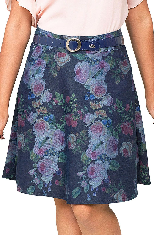 Saia Feminina Godê Midi Com Estampa Floral Dyork Jeans
