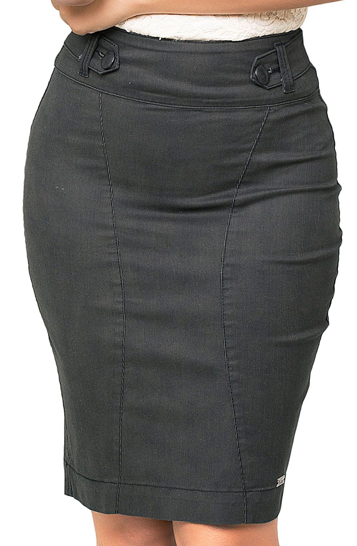 Saia Feminina Lápis Com Pregas Atrás Na Cor Preta Dyork Jeans