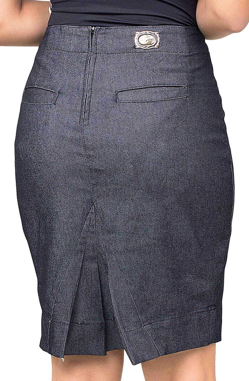 Saia Feminina Secretária Detalhe Em Zíper e Pregas Dyork Jeans