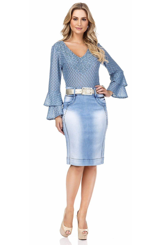 Saia Jeans Azul Claro Detalhe Recortes e TachinhasDyork Jeans
