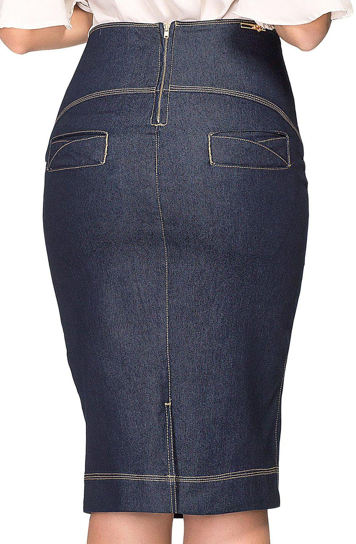 Saia Jeans Azul Escuro Costuras Aparentes Dyork Jeans
