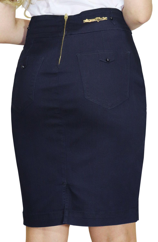 Saia Jeans Azul Escuro Secretária com Detalhe de Trança no Cós Dyork Jeans