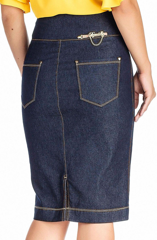 Saia Jeans Azul Marinho Cintura Alta Com PedrariasDyork Jeans