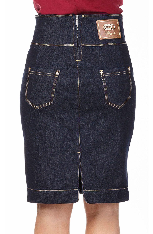 Saia Jeans Azul Marinho Detalhe Costuras Aparentes Dyork Jeans