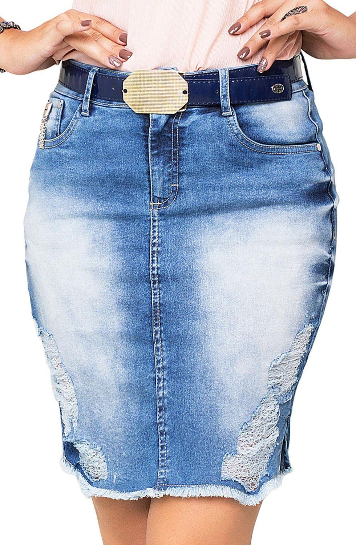 Saia Jeans Barra Desfiada Com Puído Dyork Jeans