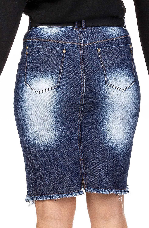 Saia Jeans Barrado Assimétrico Com Zíper E Ilhós Dyork Jeans