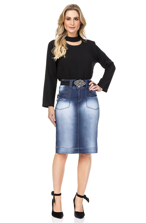 Saia Jeans Cintura Alta Detalhe Bolsos FrontaisDyork Jeans