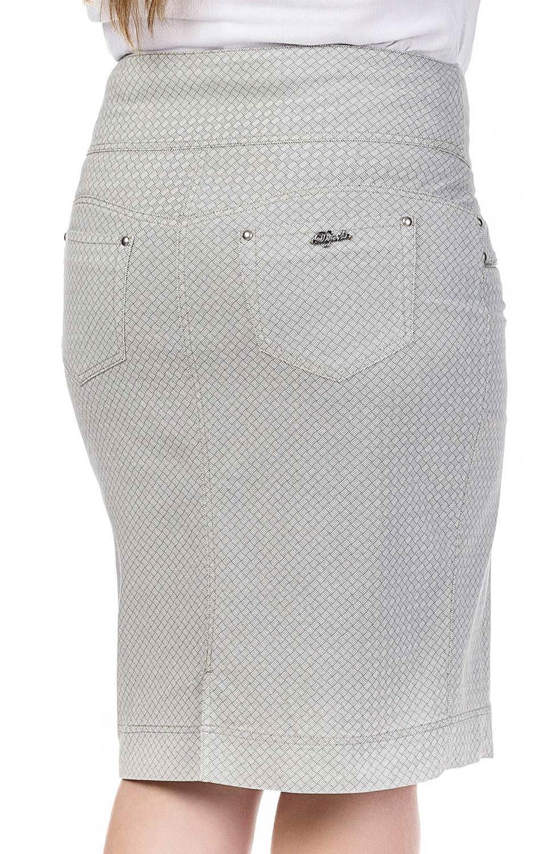 Saia Jeans Cinza Estampada com Pala Arredondada Dyork Jeans