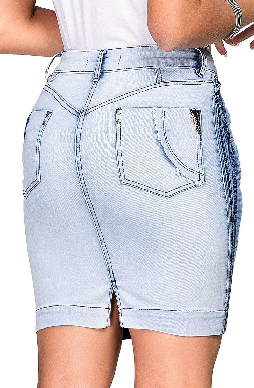Saia Jeans Clara com Bordado Lateral Dyork Jeans