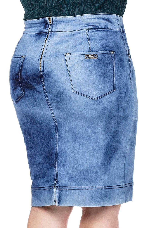 Saia Jeans Claro Detalhes de Pregas nos Bolsos da FrenteDyork Jeans