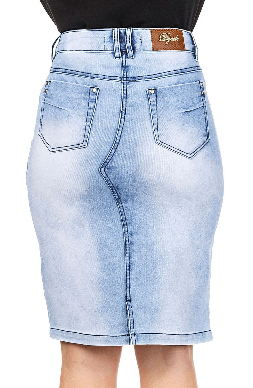Saia Jeans Claro Midi com Detalhe em Zíper na Frente Dyork Jeans
