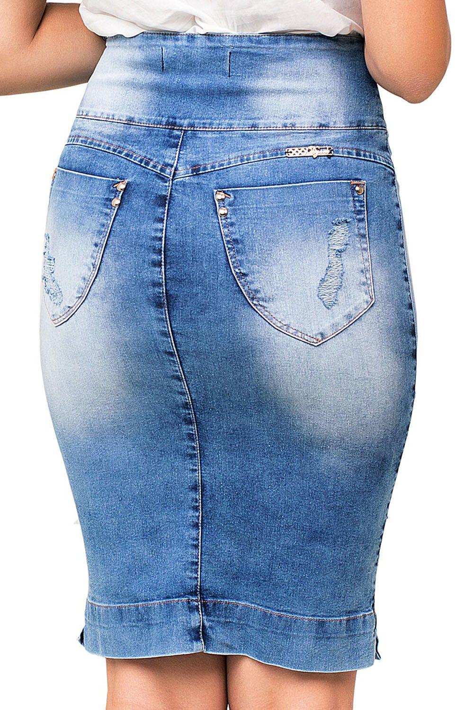 Saia Jeans Clássica com Detalhes Rasgados Dyork Jeans