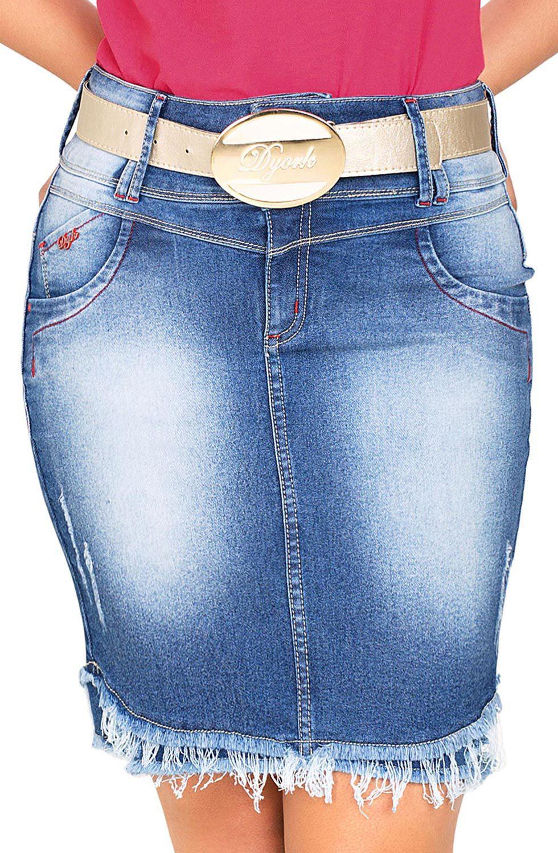 Saia Jeans com Barra Assimetrica e Desfiada Dyork Jeans