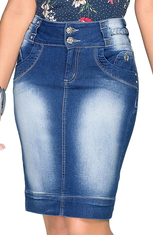 Saia Jeans com Detalhe de Trança no Cós Dyork Jeans