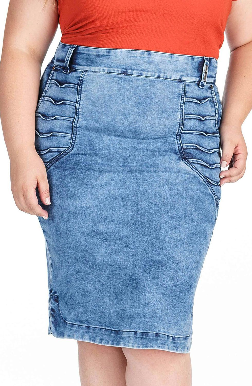 Saia Jeans com Detalhes de Pregas e Barra com Abertura nas Laterais Dyork Jeans