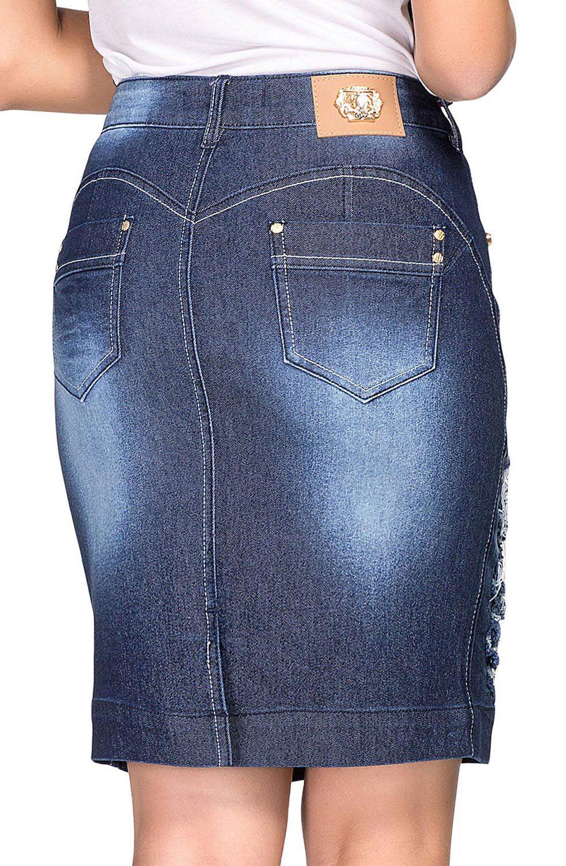 Saia Jeans com Rasgos Secretária Dyork Jeans