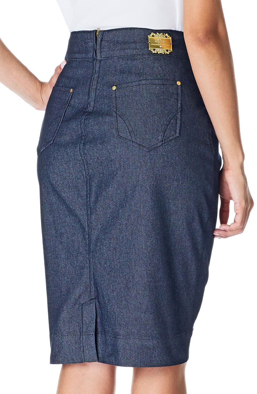 Saia Jeans com Recortes e Nervuras Dyork Jeans