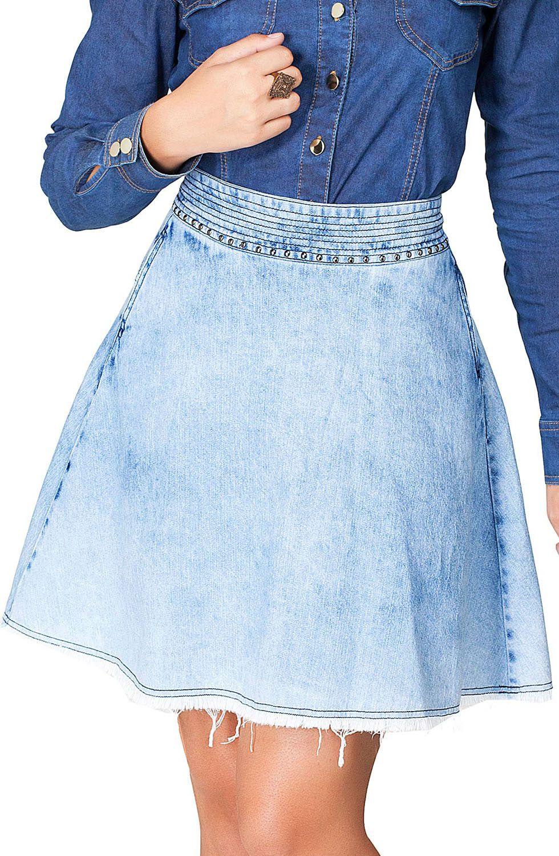 Saia Jeans Curta Clara Evasê  Dyork Jeans