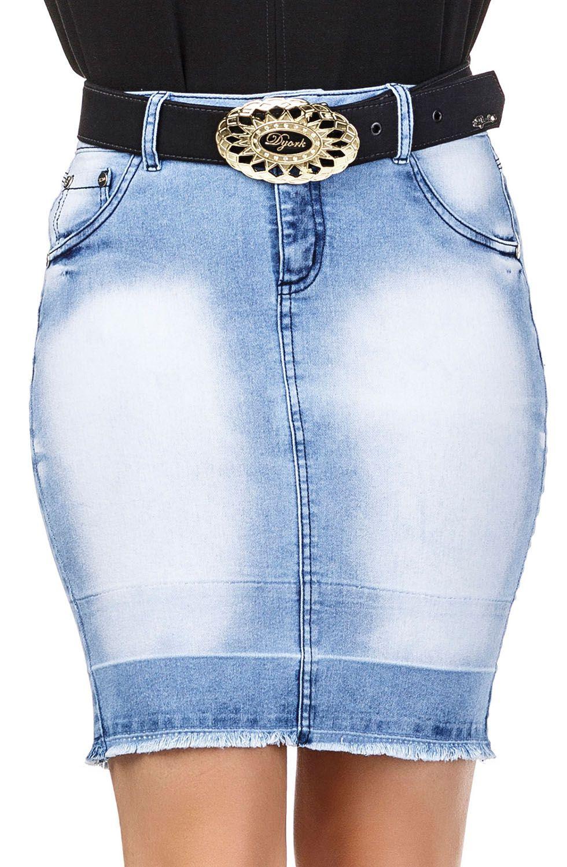 Saia Jeans Curta Claro  Dyork Jeans