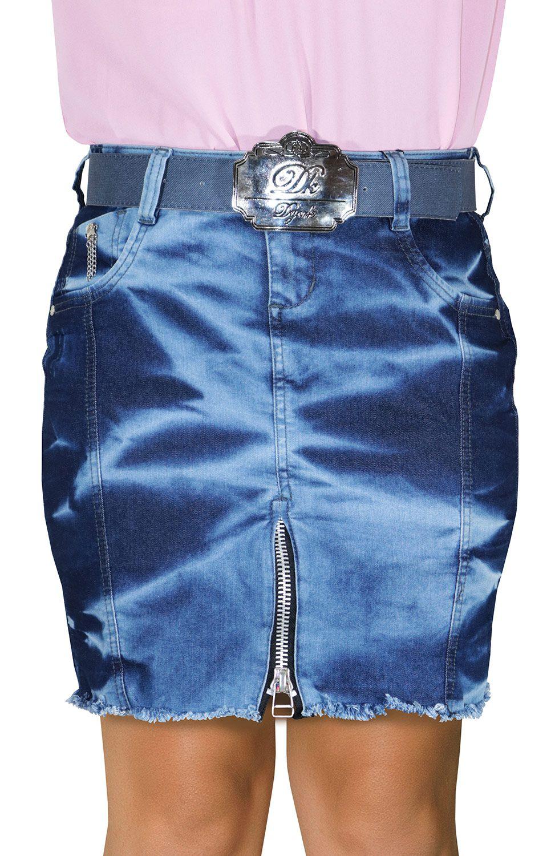 Saia Jeans Curta Com Barra Desfiada e Zíper Aparente Na Barra Dyork Jeans