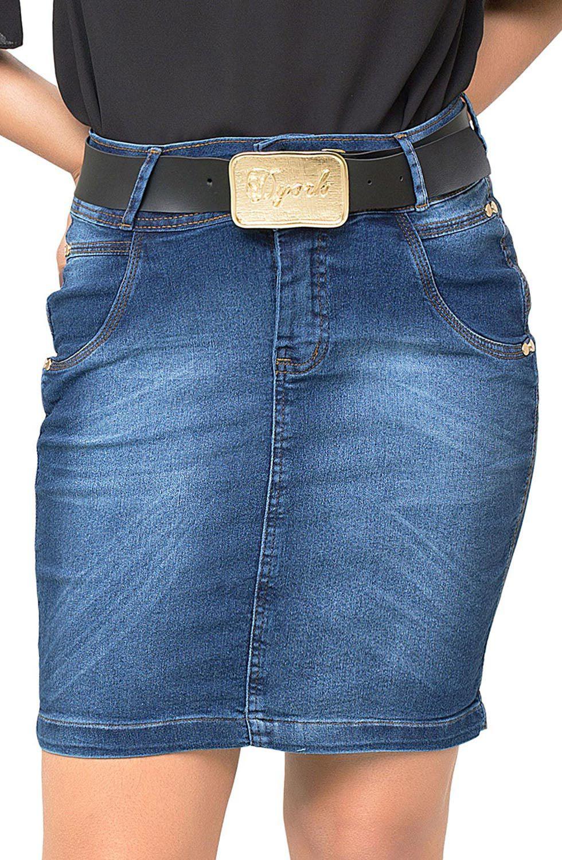 Saia Jeans Curta com Detalhe Eleva Bumbum  Dyork Jeans