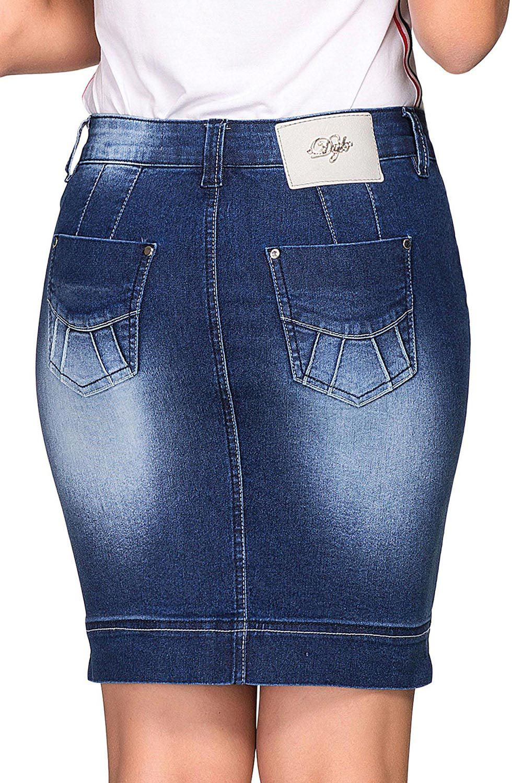Saia Jeans Curta com Detalhe Levanta Bumbum Dyork Jeans