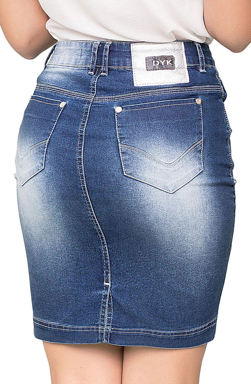 Saia Jeans Curta com Elastano e Lavada Média com Pontos de Luz Dyork Jeans