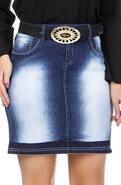 Saia Jeans Curta Com Marcação Escura na Barra Dyork Jeans