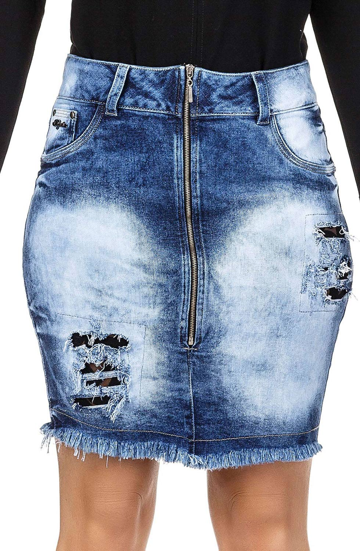 Saia Jeans Curta com Rasgos e Zíper Frontal Dyork Jeans