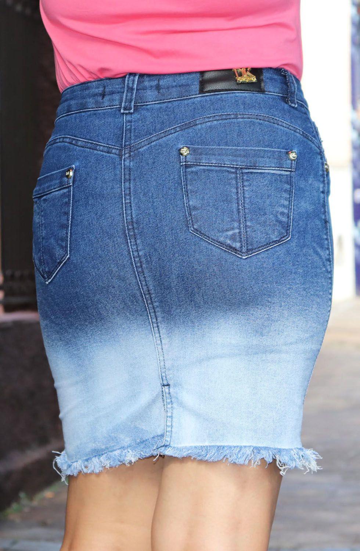 Saia Jeans Degradê Barra Desfiada Dyork Jeans