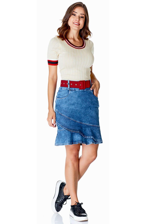 Saia Jeans Detalhe Babado na Barra Dyork Jeans