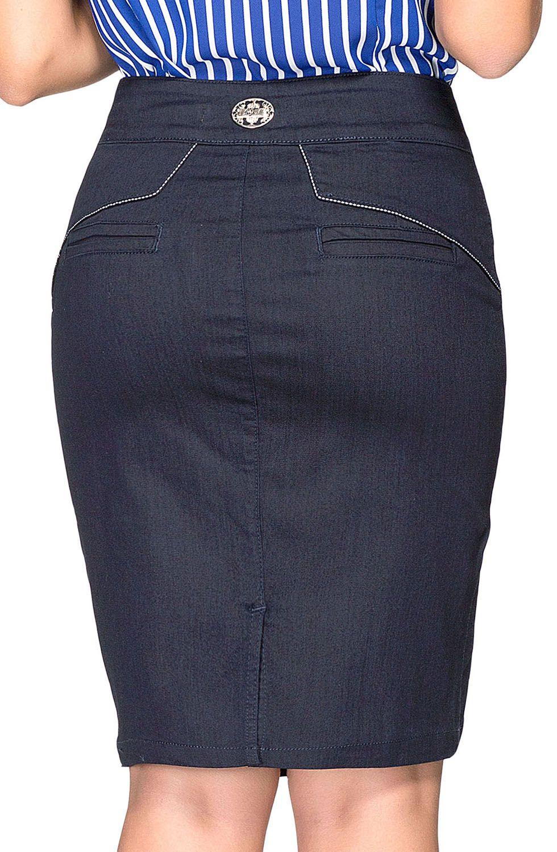 Saia Jeans Detalhe Recorte com Vivo e Tachas Dyork Jeans