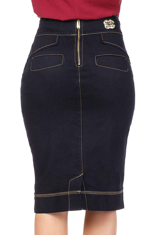 Saia Jeans Detalhes Cós com Costuras e Botão Dyork Jeans