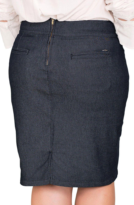 Saia Jeans Escura Bordado Pedraria no Cós Dyork Jeans
