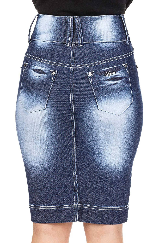 Saia Jeans Escura com Aplicação de Pedraria Dyork Jeans