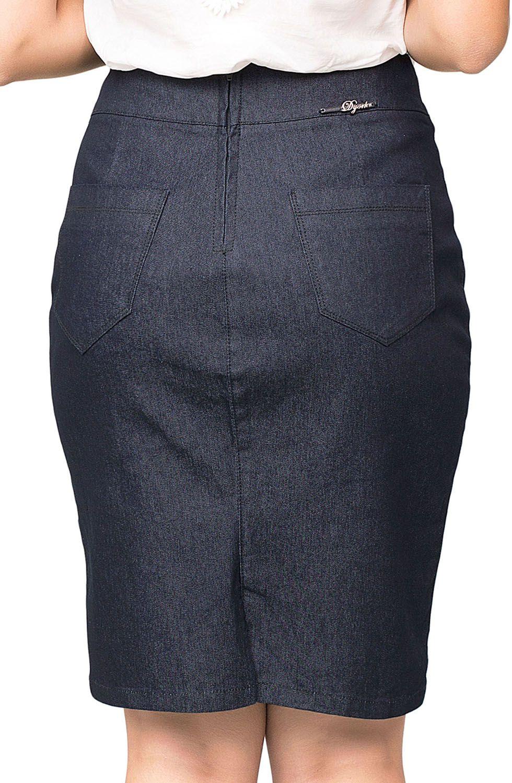 Saia Jeans Escura com Bordado na Barra Dyork Jeans