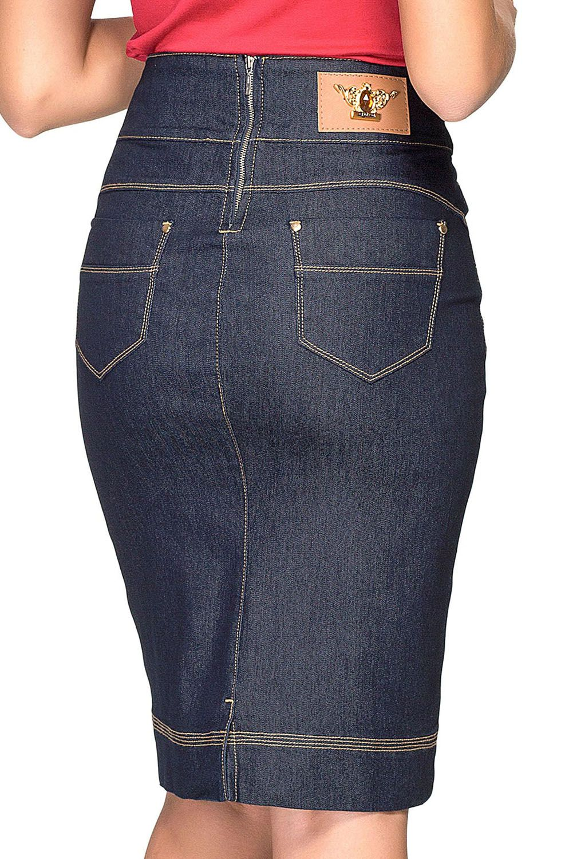 Saia Jeans Escura com Detalhe de Trança no Cós Dyork Jeans